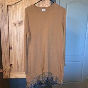 Cotton/Cashmere lace hem sweater